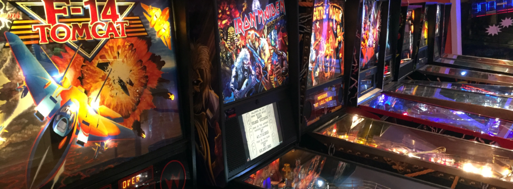 A row of excellent pinball machines, all set to FREE PLAY