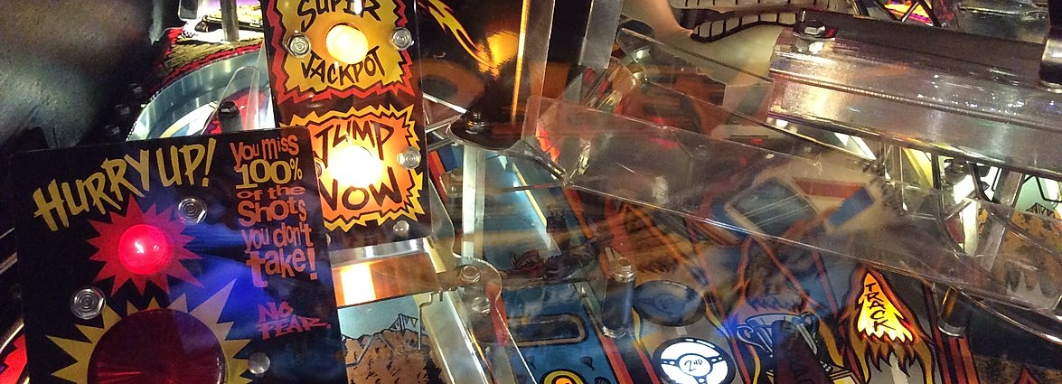 No Fear pinball playfield close up with Jump Now sign