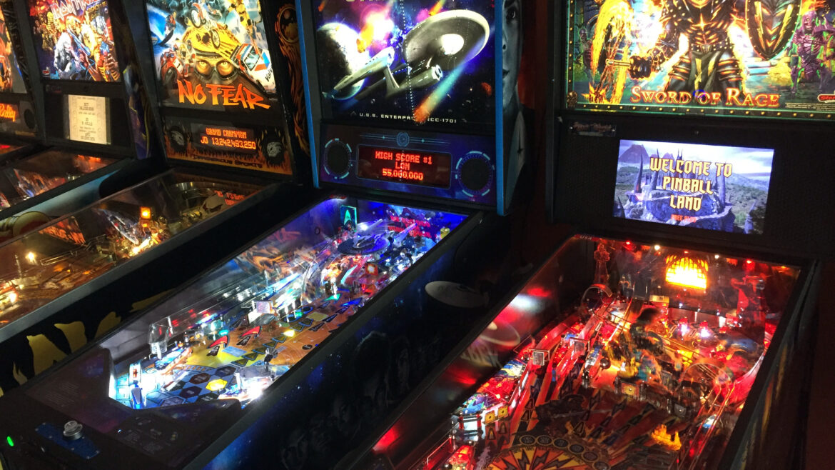 Iron Maiden, No Fear, Star Trek and Black Knight pinball machines
