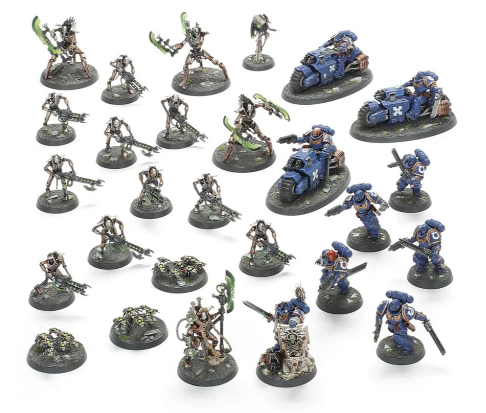 The miniatures included with the Warhammer 40k Elite Edition box set
