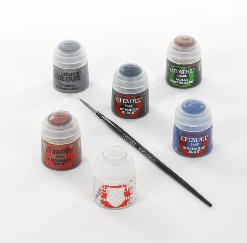 Various Citadel paints and brush