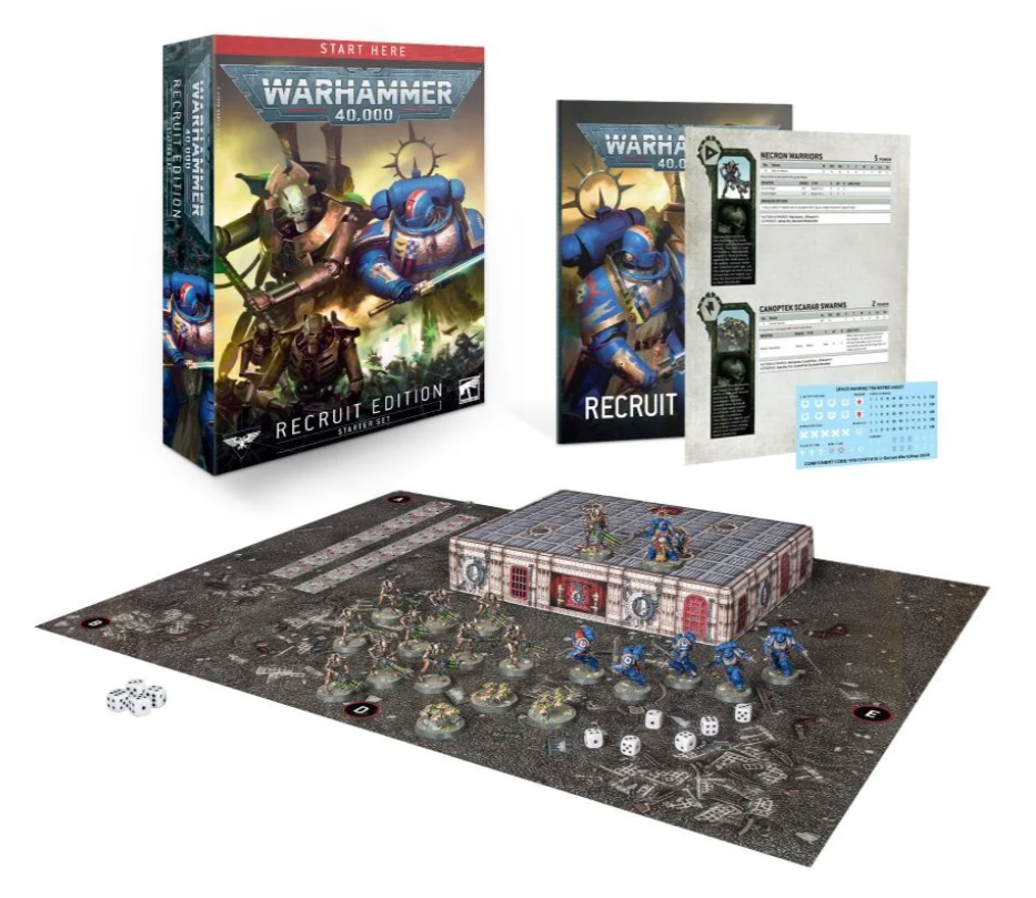 The contents of a Warhammer 40k Recruit Edition box set