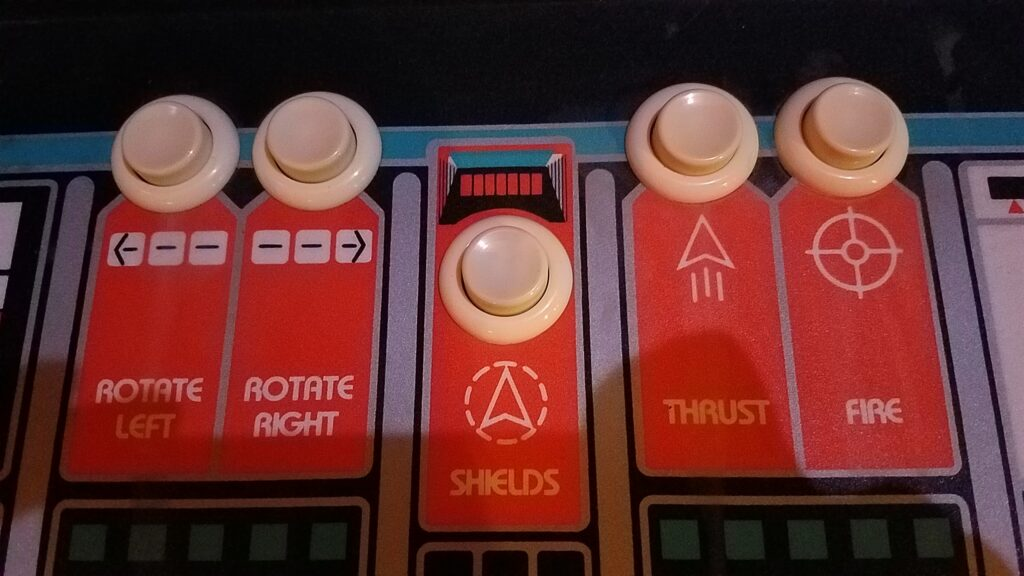 Asteroids Deluxe Control Panel Buttons and Overlay
