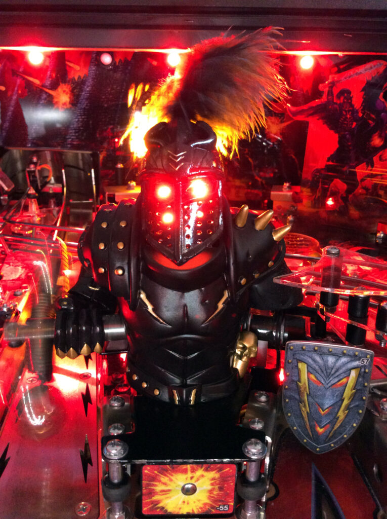 Black Knight Sword of Rage pinball Black Knight playfield toy with flail and shield
