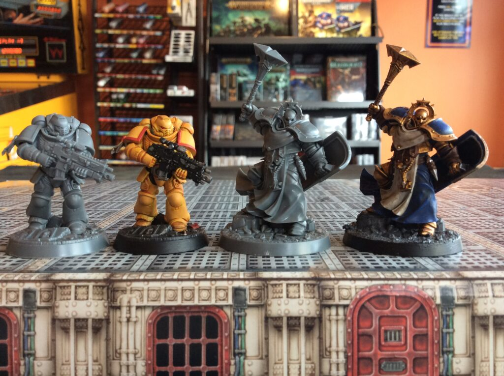 Stormcast Eternal and Space Marine painted models at Pinball Land
