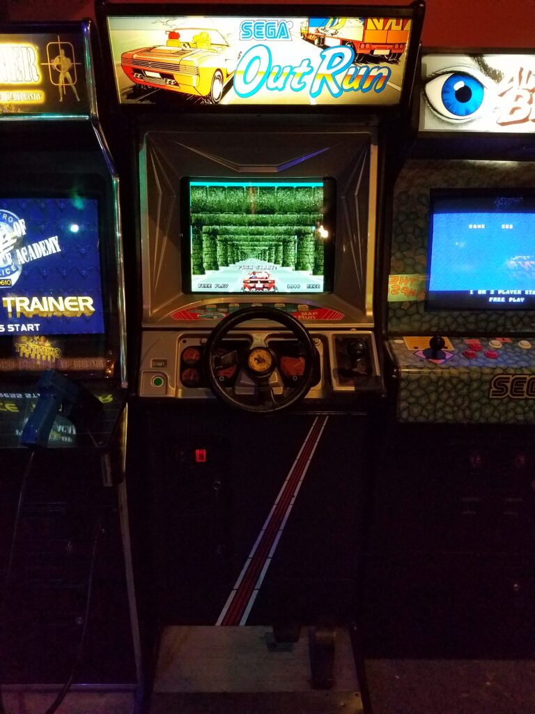 Out Run arcade game upright model at Pinball Land arcade in Rockford MI