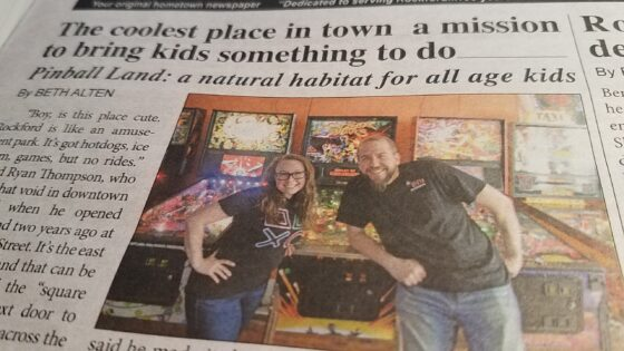 Ryan and Erin Thompson of Pinball Land in The Rockford Squire
