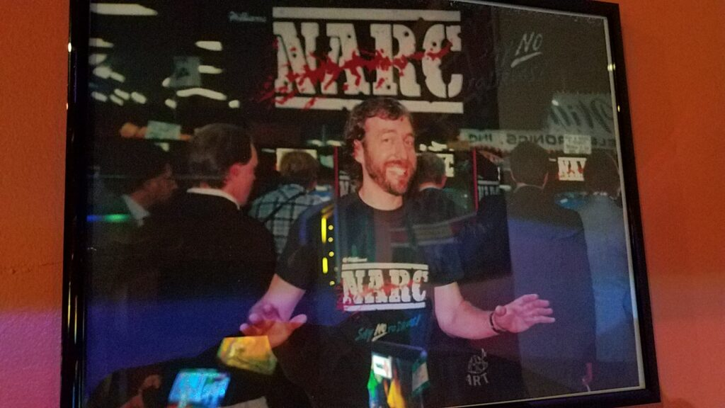 Eugene Jarvis wearing a NARC shirt